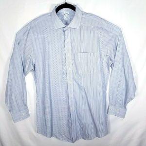 Brooks Brothers Men 16.5 - 34 Slim Fit Blue Stripe